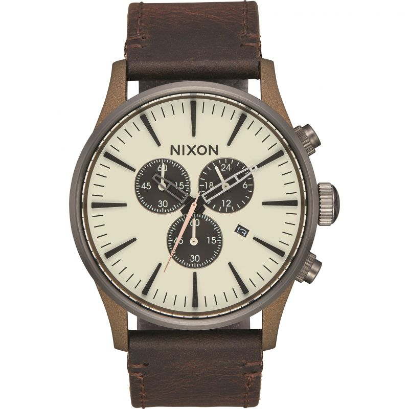 Mens Nixon The Sentry Chrono Leather Chronograph Watch from Nixon