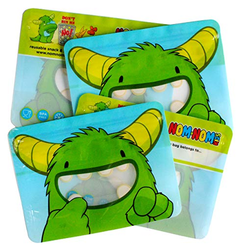 4 Reusable Sandwich Bags, Share Bags or Supersize Snack Bags for Toddlers and Kids, by Nom Nom Kids from Nom Nom Kids