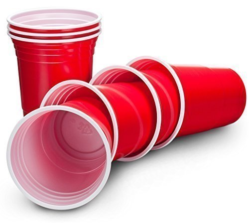 Disposable Party Cups, 16 oz, Ruby Apple Red, Pack of 50 from Non Consumables