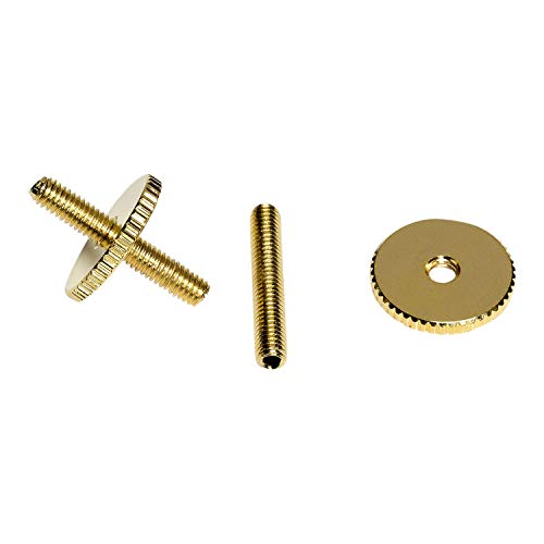 Pair of Guitar 16mm Thumb Wheel Bridge Height Adjusters Posts for Les Paul SG Guitars - Gold from Northwest Guitars