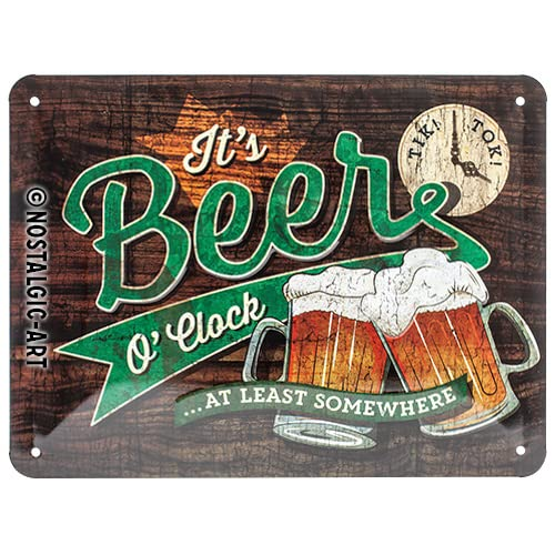 Nostalgic Art 26214 Open Bar – Beer O 'Clock | Vintage Retro Tin Sign | Wall Plaque | Wall Decoration | Metal | 15 x 20 cm from Nostalgic Art