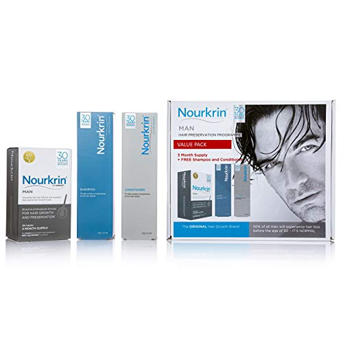 Nourkrin Man Value Pack 180 Tablets, Shampoo and Conditioner from Nourkrin