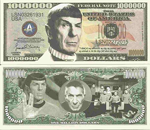 Novelty Dollar Leonard Simon Nimoy Commemorative Million Dollar Bills x 2 Spock Star Trek from Novelty Dollar