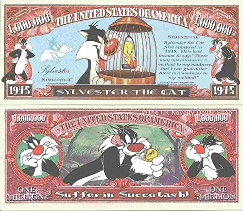 Novelty Dollar Sylvester The Cat Cartoon Character Million Dollar Bills x 4 Tweetie Pie Tweety from Novelty Dollar