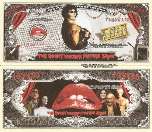 Novelty Dollar The Rocky Horror Picture Show Million Dollar Bills x 2 Frank N Furter Time Warp from Novelty Dollar