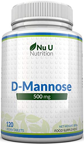 D-Mannose Tablets 500mg | 120 Tablets | High Strength | Allergen Free and Suitable for Vegetarians and Vegans | Not Mannose Capsules or Powder Made in The UK by Nu U Nutrition from Nu U Nutrition