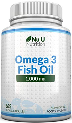 Omega 3 Fish Oil 1000mg 365 Softgels 1 Year Supply | Pure Fish Oil with Balanced EPA & DHA | Contaminant Free with Omega 3 | Made in The UK from Nu U Nutrition