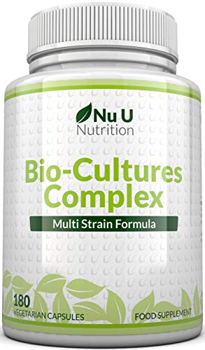 Bio-Cultures 180 Capsules (6 Month Supply) | Vegetarian Multi Strain | High Strength Cultures Includes Lactobacillus Acidophilus & Bifidobacterium | Capsules not Tablets by Nu U Nutrition from Nu U Nutrition