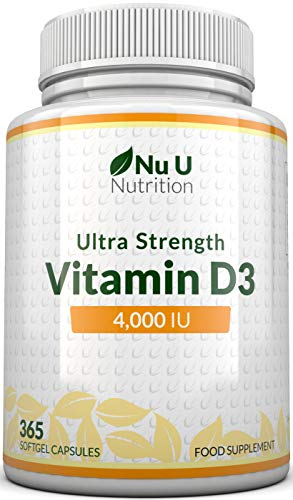 Vitamin D 4000 IU | 365 Softgel Capsules NOT Tablets - Full Year Supply | Easy to Swallow Quadruple Strength Vitamin D3 Supplement | Highly Bioavailable Cholecalciferol | Gluten & Dairy Free from Nu U Nutrition