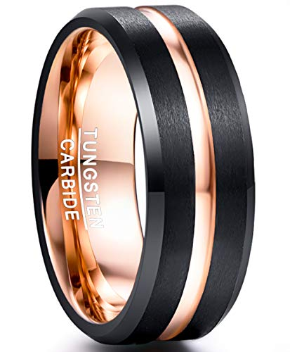 NUNCAD Tungsten Carbide Ring Grooved Rose Gold and Black Matte Finish Beveled Edges Comfort Fit Size N½ from NUNCAD