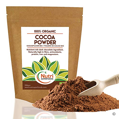 Cocoa Powder - Organic Vegan Dark Chocolate Ingredient - unsweetened, Dairy Free and Ideal for Baking, hot Chocolate Drinks and Smoothies - 200g from Nutri Superfoods