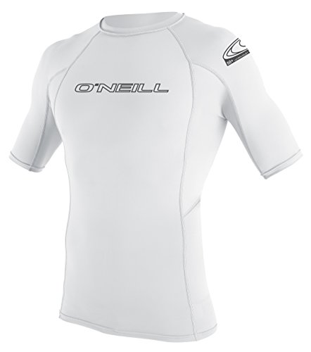 O'Neill Men's Basic Skins Short Sleeve Crew Rash Vest, White, M from O'Neill