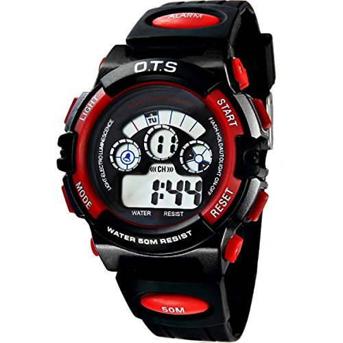 O.T.S Children Boys Girls Waterproof Digital Watch Outdoor Sports Wristwatch Multifunction LED Backlight - Black/Red from O.T.S