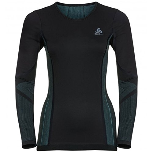 ODLO Women's Suw Crew Neck Long Sleeve Performance Windshell Top, Black-Blue Radiance, X-Large from ODLO