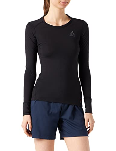 ODLO(オドロ Women Suw Top Crew Neck L/S Natural 100% Merino Top - Black - Black, Small from ODLO
