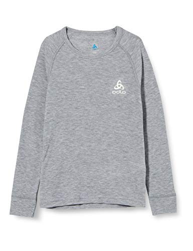 ODLO Kid's BL TOP Crew Neck l/s Active Warm, Grey Melange, 140 from ODLO