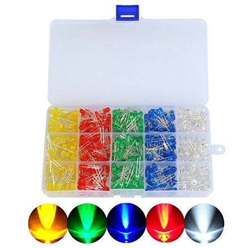 OFNMY 500Pcs LED DIP Ultrabright Diodes Multicolor Light Emitters 5mm (5 Colors) from OFNMY