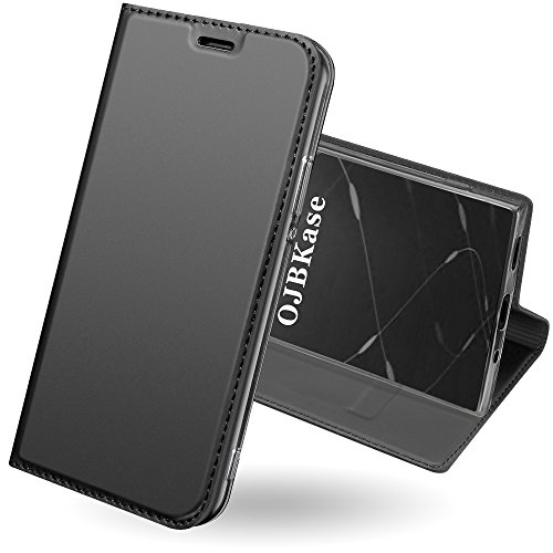Sony Xperia XA2 Case,OJBKase [Skin Series] Premium Slim Flip PU Leather [Kickstand] with TPU Shockproof Inner Shell Full-Body Protection Book Wallet Case Cover for Sony Xperia XA2 (Black Grey) from OJBKase