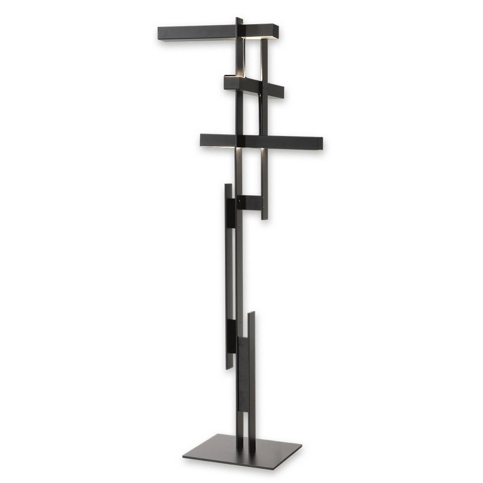 Abstract LED floor lamp Las in matt black from Oluce