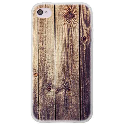 OOH!COLOR 025604 _ MTE014 Wood with Pattern Soft TPU Silicone Bumper Case for Apple iPhone 4/4S Clear from OOH!COLOR
