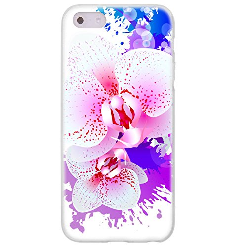 OOH!COLOR 025605 _ NFL002 Romantic Orchid Flower Girl Pattern TPU Soft Silicone Bumper Case for Apple iPhone 5/5S Transparent from OOH!COLOR