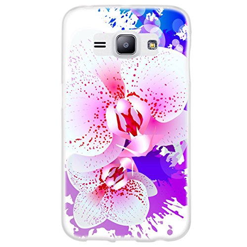 OOH!COLOR 025627 _ NFL002 Romantic Orchid Flower Girl Pattern TPU Soft Silicone Bumper Case for Samsung Galaxy J1 Clear from OOH!COLOR