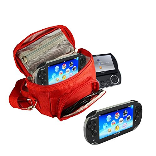 Orzly® - GAME & CONSOLE TRAVEL BAG for Sony PSP Consoles (GO/VITA/1000/2000/3000) Has Special Compartments for Games & Accessories. Bag includes Shoulder Strap + Carry Handle + Belt Loop - RED from ORZLY®