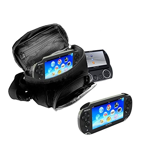 Orzly® - GAME & CONSOLE TRAVEL BAG for Sony PSP Consoles (GO/VITA/1000/2000/3000) Has Special Compartments for Games & Accessories. Bag includes Shoulder Strap + Carry Handle + Belt Loop - BLACK from ORZLY®