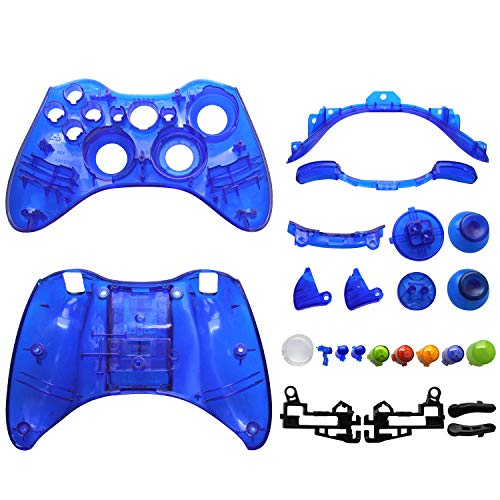 OSTENT Replacement Case Shell & Buttons Kit Compatible for Microsoft Xbox 360 Wireless Controller - Color Blue from OSTENT