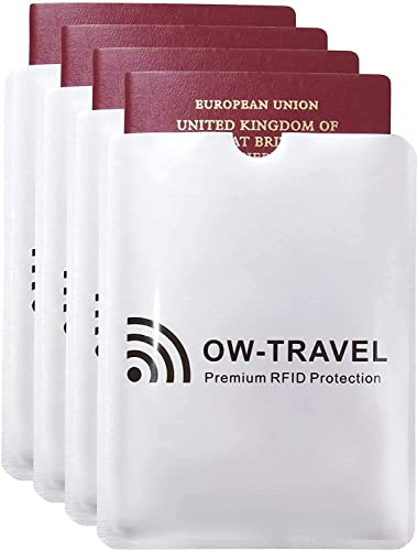 ✅TÜV APPROVED RFID & NFC Blocking Passport Protector Sleeves - Identity Theft Protection Guard for Contactless Card/Cards - Signal Defender Blocker Holders: Secure Silver Sleeve Holder Protectors 4 from OW-Travel