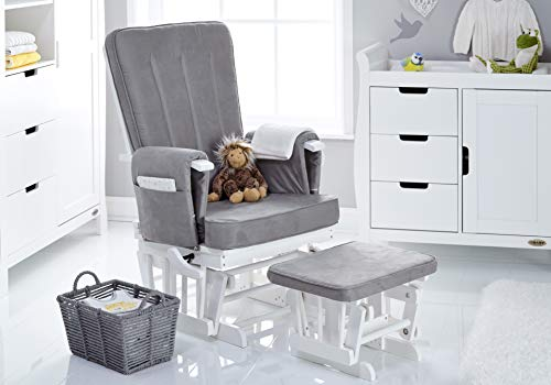 Obaby 7 Position Deluxe Reclining Glider Nursing Chair & Stool, White from Obaby
