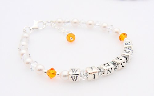 Childrens Name Bracelet - Birthstone Crystal - Personalised Box - Topaz for a November Baby - Christening Gift from Occasions Emporium