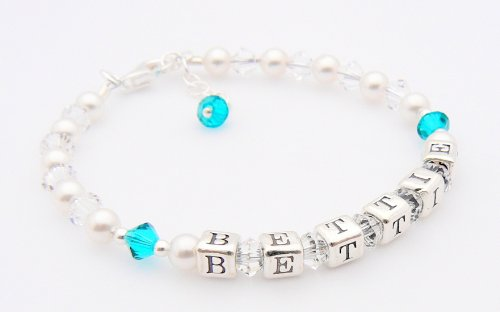 Childrens Name Bracelet - Birthstone Crystal - Personalised Box - Zircon for a December Baby - Christening Gift from Occasions Emporium