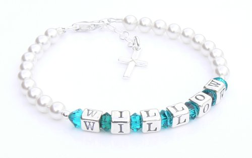 First Holy Communion Bracelet - Silver Name Bracelet - Personalised Box - Zircon Birthstone Crystal - Holy Communion Gifts from Occasions Emporium
