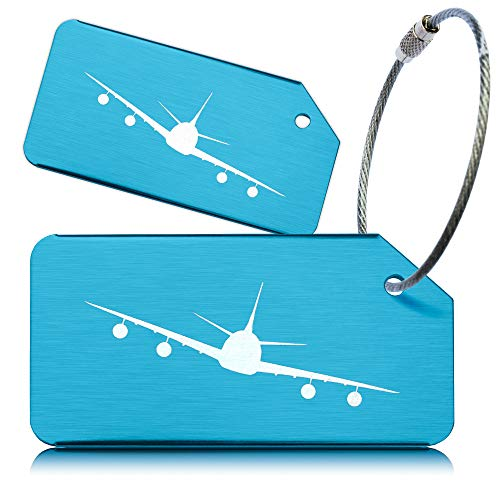 OctiLUX Luggage Tags for Travel Suitcase Aluminium Aero Design 2 Pack Blue from OCTiLUX