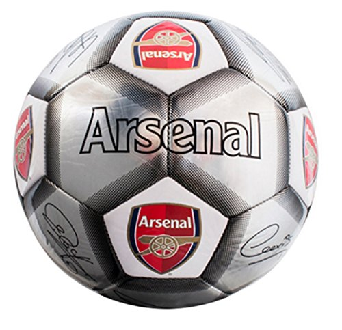 Arsenal FC Football Team Size 5 Player Signature Ball - Silver from Official Football Merchandise