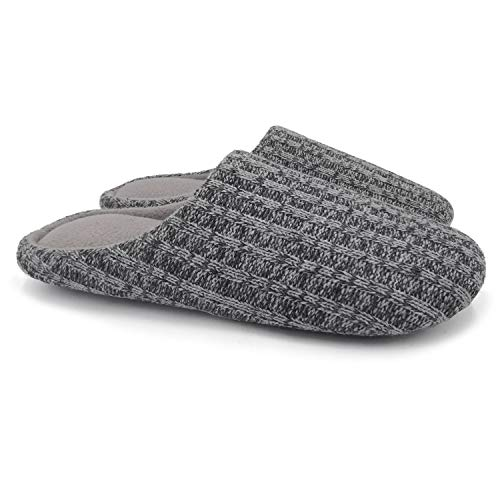 af8f350afce2b Ofoot Slippers Polar Fleece Lined Cable Knit Cashmere Men's Women's Slippers  Indoor Shoes with Memory Foam
