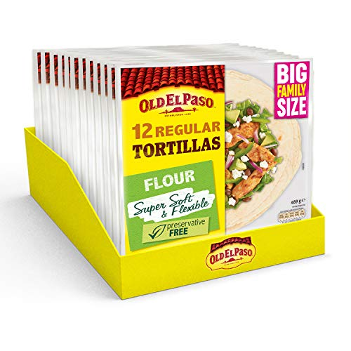 Old El Paso Regular Super Soft Flour Tortillas Family Pack x12 489g (Pack of 8) from Old El Paso