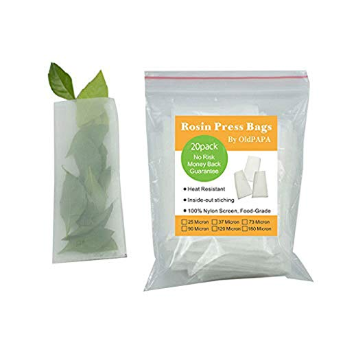 "Rosin Press Bags, 25 Micron Rosin Bags, Rosin Filter Bag by OldPAPA, Reusable Nylon Screen Press Bag- 2""x 4"" (20 Pack) from OldPAPA"
