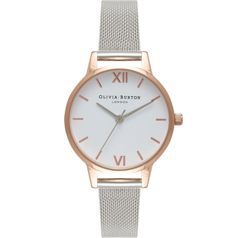 White Dial Grey Watch from Olivia Burton