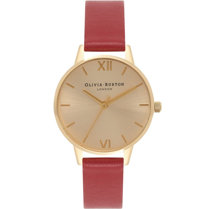 Sunray Gold & Red Watch from Olivia Burton