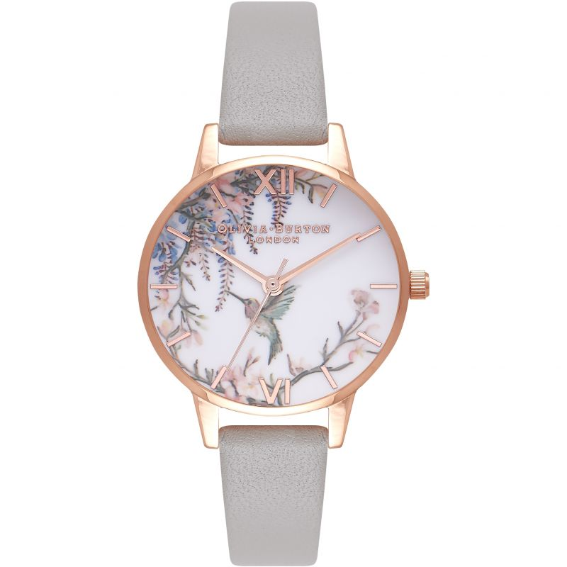 Painterly Prints Rose Gold & Grey Watch from Olivia Burton