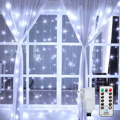 LED Curtain Lights Window Curtain Fairy Lights 306 LEDs 3m x 3m Indoor Ollny Icicle String Lights with Remote for Wedding Xmas Christmas Outdoor Party Decorations White from Ollny