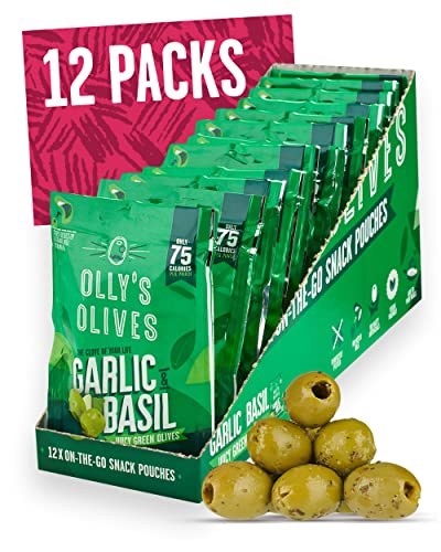 Olly's Olives | Basil and Garlic Green Olives | The Connoisseur - 12 x 50g Pouches from Olly's Olives