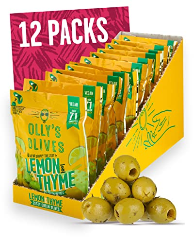 Olly's Olives | Lemon and Thyme Green Olives | The Hippie - 12 x 50g Pouches from Olly's Olives