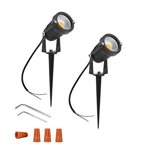 Onerbuy 12V Low Voltage LED Landscape Lights Waterproof Outdoor Walls Trees Flags Spotlights 5W COB Garden Yard Path Lawn Light with Spike Stand, Pack of 2 (Warm White) from Onerbuy