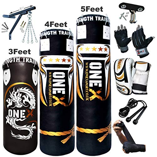 NEW 3-4-5 FT Filled Heavy Punch Bag Buyer Build Set,Chains,Bracket, Punching Gloves for Training Fitness Water proof Bag MMA (3ft with ceiling Hook+Cutts Finger) from Onex