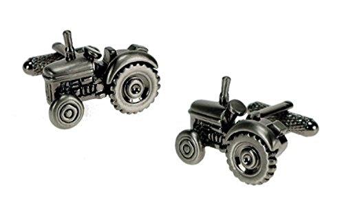 Traditional Tractor Burnished Silver Design Cufflinks in Gift Box - Onyx-Art London CK266 from Onyx-Art London