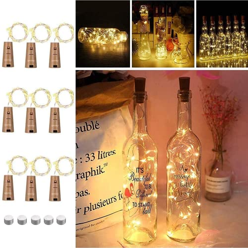 Opard Wine Bottle Lamp String Lights Cork Copper Wire Fairy Lights Warm White 2M/20 LEDS Battery Operated for Parties, Wedding, Christmas (Warm White) (9 PACK) from Opard