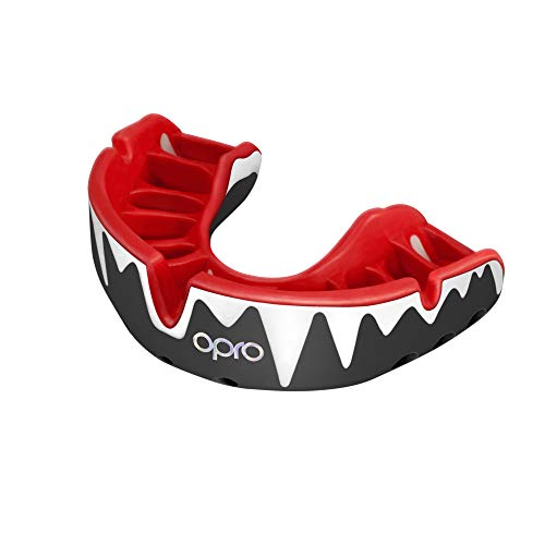 Opro Adult Platinum Level Mouthguard for Ball, Stick and Combat Sports - 18 Month Dental Warranty (Ages 10+) (Black/White/Red) from Opro